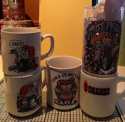 Vintage Lot of Glasses Miss Piggy Tom Armstrong Garfield Bonanza MUST SEE