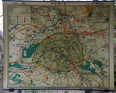 1970 French School Canvas Wall Map Industrial Paris & Environs Hatier