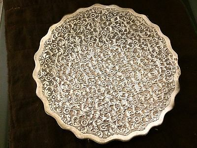 900 or Solid Silver Ornate Islamic Persian Ottoman Decorative Tray Signed