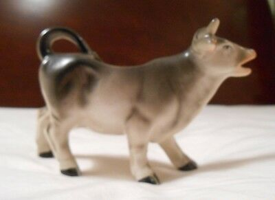 """Old Antique Porcelain Cow Small 5"""" Beautifully Hand Painted Rare Black Grey Wht"""
