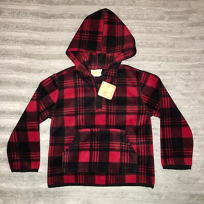 NWT Toddler Boys Crazy 8 Fleece Pullover Hoodie Jacket Sweater SZ 3T Red Plaid