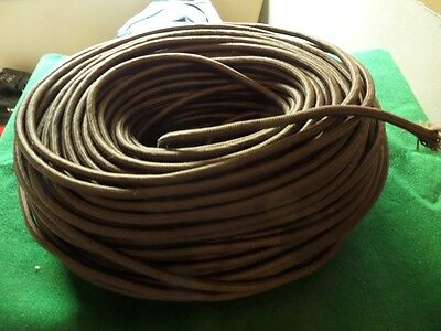 Power cable 3 core vintage in Dark Brown  cotton filled  100 metres.