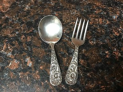 S. Kirk And Son Sterling Baby Fork And Spoon Set, Repousse