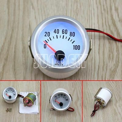 52mm 2'' White Blue LED Electrical Oil Pressure Gauge Meter 0-100PSI Car Auto uk