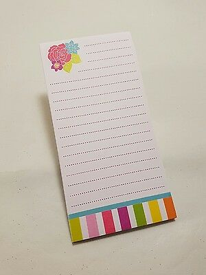 NEW - Magnetic Lined Notepad with Flowers Stripes - 19cm x 9cm