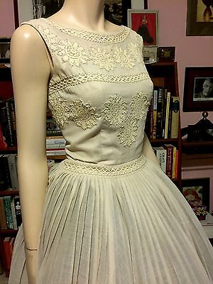 Vintage 1950s CARLYE SHEER LINEN LACE Fitted Full Pleated Skirt Rockabilly PINUP