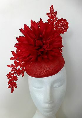 Red Flower Lace Bows Loops Hat Fascinator Races Wedding