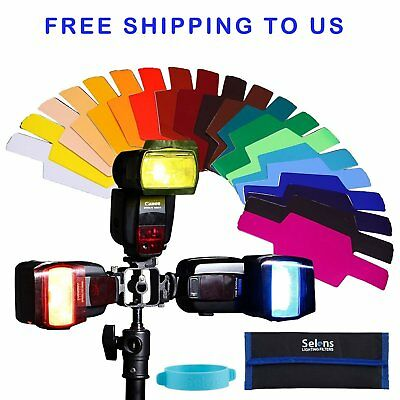 20 Color Photographic Gels Filter fr Canon Nikon Yongnuo Flash Free Shipping