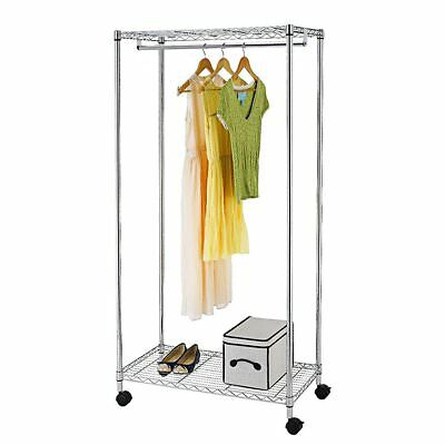 SortWise Chrome 2-Tier Rolling Clothing Garment Rack Standing Hanger Shelves