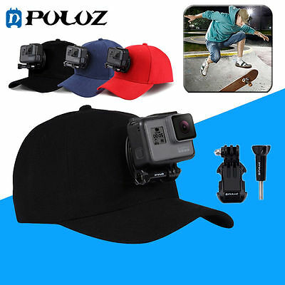 PULUZ Go Pro Accessories Outdoor Sun Hat Topi Baseball Cap with Holder Mount