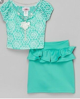 Girls Two Piece Green And White Peplum Short Sleeve Shirt And Skirt Size 10/12