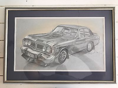 1971 Phase 3 GT Falcon Original Artist Pencil Sketch 1994 Signed
