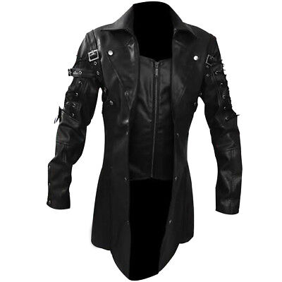 Mens REAL Leather Goth Matrix Trench Coat Steampunk Gothic