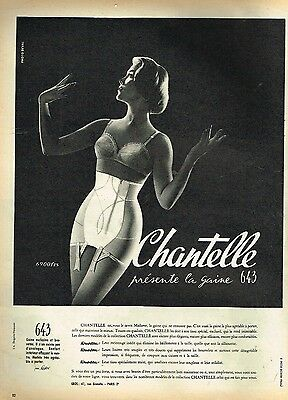 E- Publicité Advertising 1958 Lingerie soutien gorge gaine Chantelle