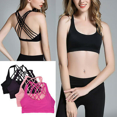 Women Padded Sports Bra Cross Back Yoga Gym Workout Running Vest Top