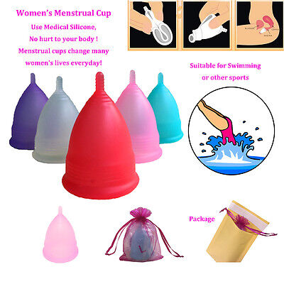 Silicone Menstrual Cup Womens Period 100% Medical Soft Reusable Hygiene 5 Colors