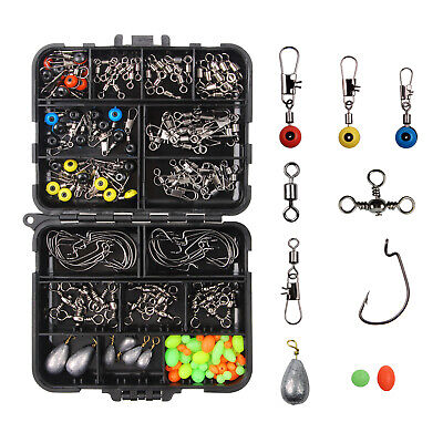 Carp Fishing Tackle Box Kit Sinker Weights/Beads/Hooks/Swivels Terminal Tackle