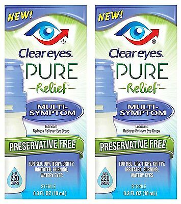 New* Clear Eyes Pure Relief Multi Sympton Eye Drop Lubricant Two Pack 0.3oz x2
