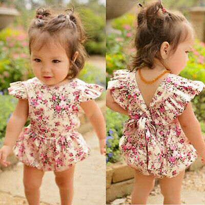 Girl Kids Summer Bow Knot Princess Bodysuit Romper Baby Outfits Clothes 1pc Set