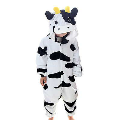 Kids Unisex Cosplay Pajamas jump suit Cow Costume, 9-11 years
