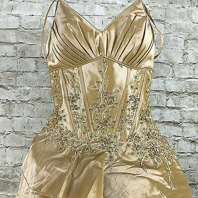 Chicas Xs Gold Dress Prom Bridal Formal Jeweled Spaghetti Strap Sash Gown Tiered