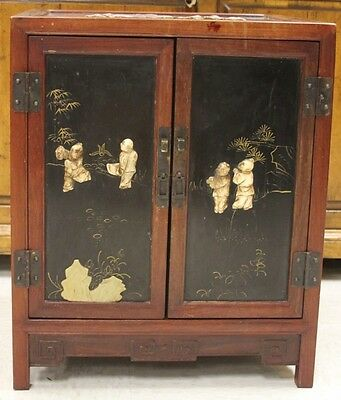 CHINESE STORAGE CABINET WITH STONE DECORATION Lot 6265