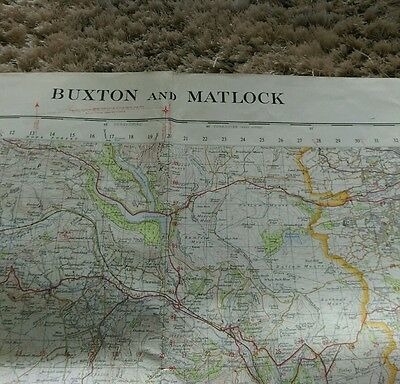 Large vintage ordinance survey map 1970 Buxton & Matlock by ministry of defence