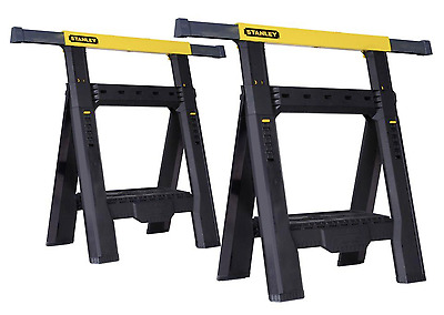 Stanley Adjustable Sawhorse Portable 1000 lb Capacity Heavy Duty Saw Tool 2 Pack