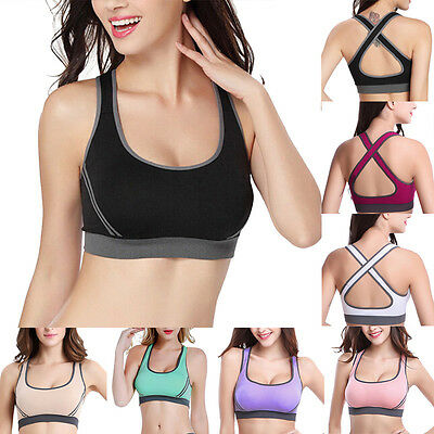 Women Padded Sports Bra Cross Back Yoga Gym Workout Running Vest Crop