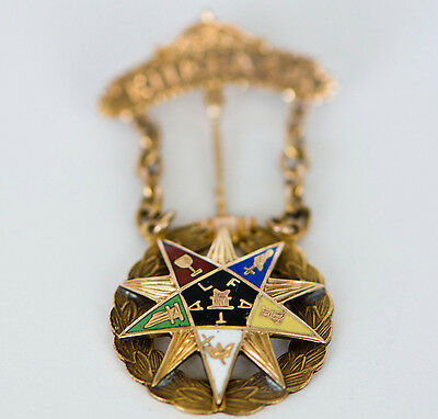 1923 Antique 18k Solid Gold Enamel Eastern Star Worthy Matron Pin Inscribed