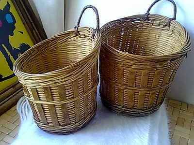 Two Vintage Rattan hand-made Woven Wicker Baskets