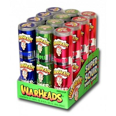 900565 BOX OF 24 x 20mL BOTTLES OF WARHEADS SUPER SOUR SPRAY CANDY! FRUIT FLAV.