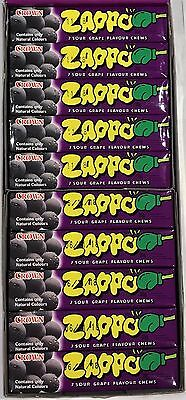900549 BOX OF 60 x 26g PACKETS OF ZAPPOS, FAMOUS SOUR GRAPE FLAVOURED CHEWS!