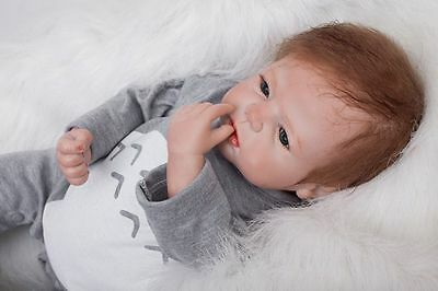 "Real Life Soft Silicone 22"" Lovely Handmade Reborn Baby Dolls Newborn Girl Boy"