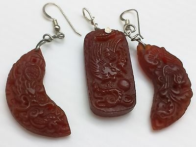 CHINESE Dragon JADE? PENDANT EARRING SET Vintage Carved? glass? Bird of Paradise