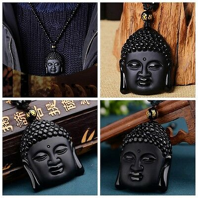 Black Obsidian Hand-Carved Lucky Buddha Amulet Pendant + Beads Necklace Natural