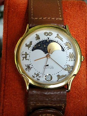 Vintage Lotus Moonphase Discovery Watch For Men Signs Of Zodiac 1980 Excellent