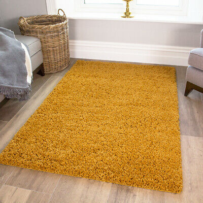Soft Non Shed Yellow Mustard Shaggy Rugs Warm Fluffy Ochre Rugs For Living Room