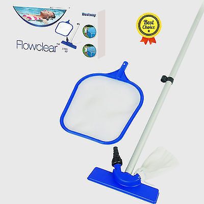 Swimming Pool Cleaning Maintenance Kit Vacuum Skimmer Clean Water Wall Floor