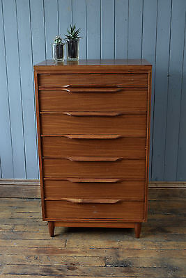 Vintage Mid Century Teak Tallboy Chest Of Drawers 'White & Newton' CAN DELIVER