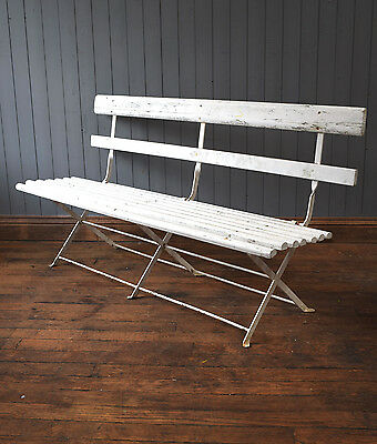 Vintage French White Folding Garden Bench - Wood & Metal - CAN DELIVER