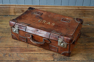 Vintage Antique Leather Travel Case Shipping Trunk Steamer