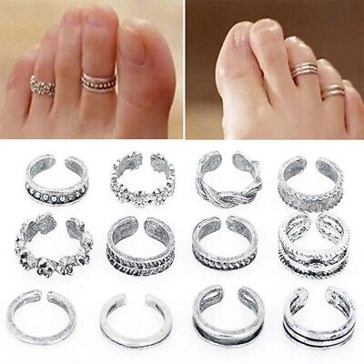 12PCS Silver Plated Heart Peace Vintage Toe Rings Adjustable For Women Girl
