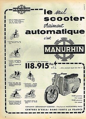K- Publicité Advertising 1958 Scooter Manuhrin