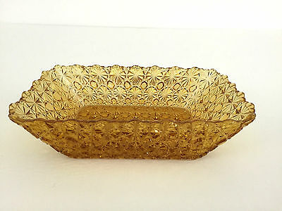 Antique Daisy & Button rectangular dish Hobbs, Brockunier Co. 1890's old gold