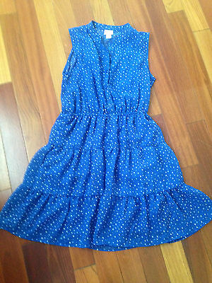 Girls size 16 Blue and white polka dot cowgirl summer party dress