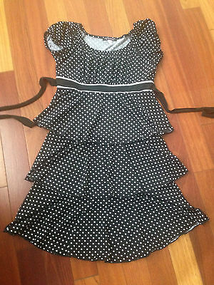 Girls size 16 Black and white polka dot summer party dress