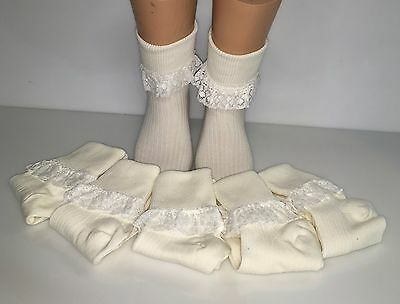 6 pairs of girls & baby frilly lace top socks in cream with cream Lace all sizes