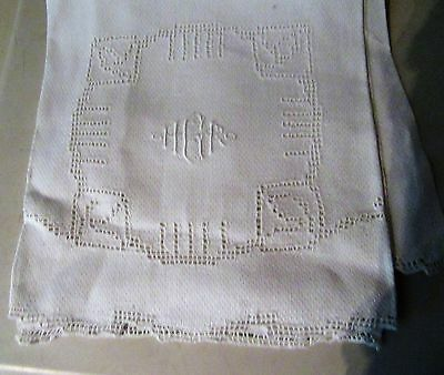 """Antique Linen Towel Monogrammed """"hrg"""" With Fancy Open Work Embroidered Design"""