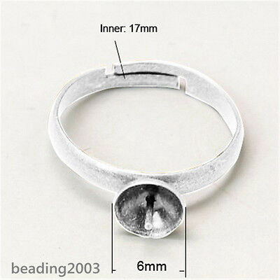 10pcs Adjustable Brass Pad Ring Bases Silver 6mm for Finger Ring Settings